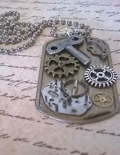 Steampunk Gears Collage Pendant Key Charms Watch Parts Dog Tag Necklace D196