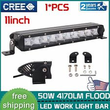 11inch 50W CREE Led Slim Light Bar Single Row Flood Beam Truck JEEP Boat 4WD SUV