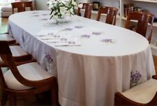 Beautiful Broderies De France cotton satine tablecloth with handmade embroiderie