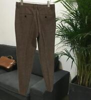 Men's British Retro Herringbone Wool Tweed Trousers Slim Straight Pants Autumn