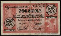 Billete Ajuntament de Solsona 25 centims centimos 1937  pesseta ajuntamiento