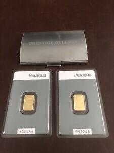 2 x Argor Heraeus 2g Pure Gold 24ct Kinebar in Custom Metal Assay Card Holder