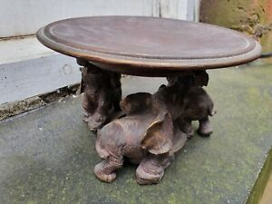 VINTAGE COMPOSITION SHABBY CHIC 3 ELEPHANT FIGURE FIGURINE DISH TAZZA STAND