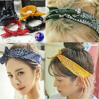 Women Retro BOHO Cotton Paisley Bandana Hair Head Headband Wrap Square Scarf