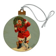 Christmas Santa Claus with Dog Wreath Wood Christmas Tree Ornament