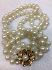 Vintage Double Strand Faux Pearl Necklace JAPAN