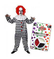 Mens Scary Clown Costume With Pennywise Face Paint Halloween IT Fancy Dress