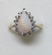 2.50 ct natural (REAL) 14 - DIAMOND & OPAL cluster ring SOLID 14K yellow GOLD