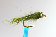 1 x Mouche Nymphe Oreille LIEVRE OLIVE BILLE H10 & 20 nymph fly truite trout