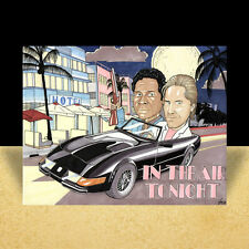 MIAMI VICE artist signed POSTER ART, auto., don johnson, 80's tv duo in suits