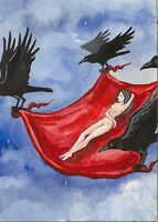 5x7 print of PAINTING CROW RAVEN FANTASY GOTHIC ART NUDE WOMAN MAGIC WITCH