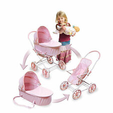 English Style 3-in-1 Doll Pram, Carrier&Stroller for 24 inch Dolls Pink Gingham.