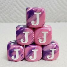 "Dice - Chx Custom Letter ""J"" - 16mm Gemini Pink/Purple w/White ""J"" as #1 & Pips"