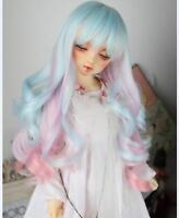 "1/4 7-8"" Bjd Doll Wig MSD MDD AOD Dollfie Blue mix pink Hair 18-19cm"