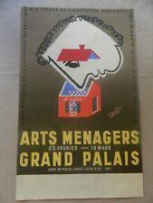 AFFICHE ancienne 19ème salon des Arts Ménagers au Grand Palais. 1949 F. BERNARD