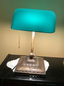 Antique Original Bankers Desk Lamp Green Shade Student, Piano