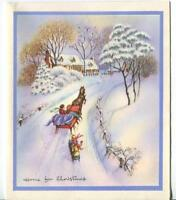 VINTAGE CHRISTMAS VICTORIAN GLITTER YELLOW HOUSE SLEIGH RIDE HORSE SNOW ART CARD