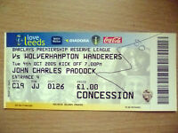Tickets/ Stubs Reserve League 2005- LEEDS UNITED v WOLVERHAMPTON WANDERERS