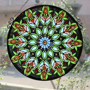 """26"""" x 26"""" Victorian Style Stained Glass Round Arabella Window Panel"""