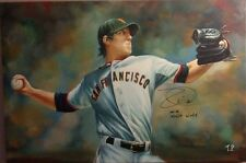 "Tim Lincecum Auto w/ NO-NO Inscription Hand Painted Art 24""x36"""