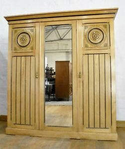 Antique carved Ash triple door combination wardrobe