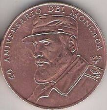Fidel Castro 1 Peso 1993 Copper 40th Anniversary Moncada Copper