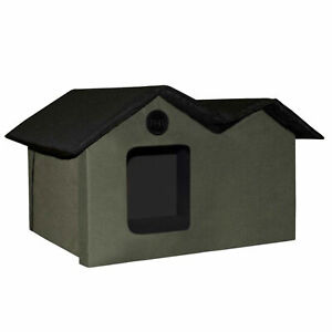 K&H Pet Products Extra Wide Outdoor Heated Kitty House with 2 Doors, Olive