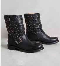 $428 FRYE JENNA STUD CUT SHORT Black Leather Moto BOOTS  6M