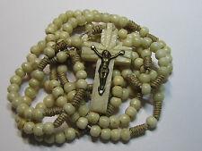 † SCARCE NUN'S ANTIQUE 15 DECADE SOLID CARVED GENUINE BOVINE ROSARY & CRUCIFIX †