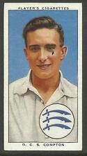 PLAYERS 1938 CRICKETERS D. COMPTON Card No 4 of 50 CRICKET CIGARETTE CARDS