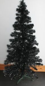 ARTIFICIAL BLACK CHRISTMAS TREE 150CM 5FT TALL ON A GREEN METAL STAND