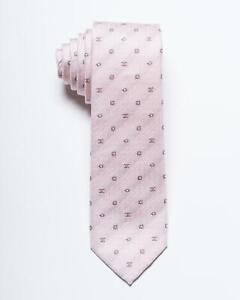 "Chanel $210 New Pink Tonal Geometric Monogram 100% Silk Skinny Tie 2.25"" 5.5 cm"