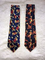 Set of 2- Disney Winnie the Pooh Neck Tie, Pooh moon and stars, Tigger Bouncing
