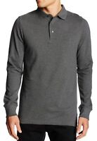 French Connection New Mens Slim Fit Long Sleeve Cotton Polo Shirt Top Plain Grey