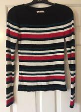 Ladies TU Top Size 10 Striped Long Sleeve Jumper