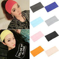 HN- HR- Women Candy Color Wide Yoga Headband Stretch Elastic Hair Bands Turban R