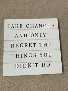 White Wooden Wall Plaque With Inspirational Quote