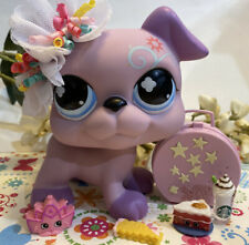 Authentic Littlest Pet Shop JUMBO Giant Purple Boxer Dog Flower Swirl 5""