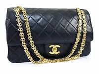 AUTHENTIC CHANEL DOUBLE FLAP LAMB CHAIN SHOULDER BAG W25 BLACK GHW N673