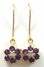 10KT YELLOW GOLD NATURAL AMETHYST & DIAMOND PLUM BLOSSOM EARRINGS    E855