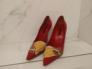 LOUIS VUITTON RED PATENT LEATHER HEELS 37.5