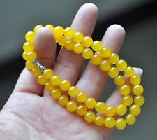 PRETTY 8MM NATURAL YELLOW TOPAZ GEMSTONE NECKLACE CHAIN 18'' AAA