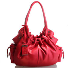 Genuine Italian Leather Handbag By LUSSO - Super Soft & Slouchy Red Hobo!
