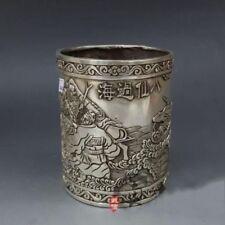 Old China Pure Silver Eight Immortals God Crossing Sea Statue Brush Pot Pencil