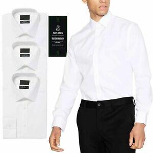 Mens Debenhams Long Sleeve Shirt Button Up Slim Fit 3 Pcs Pack Plain White