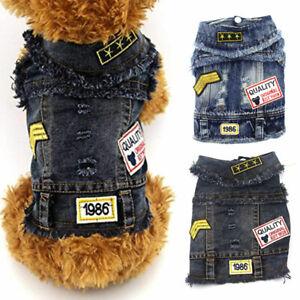 Cool Stars Pet Dog Denim Jacket Vest Clothes Puppy Cat Classic Jeans Coat Outfit