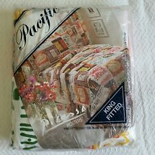 Vintage NIP Pacific Miracle KING Fitted Sheet Picasso Posters Print No Iron NOS