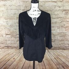 Express Black Faux Suede Fringe Western Blouse Womens Size Medium - A22