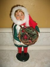 Vintage Byers Choice The Carolers 1996 Christmas Girl with Basket of Holly