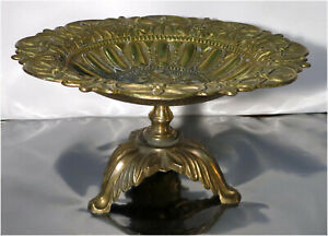 """Vintage Ornate Brass Dish, Footed 9-1/2"""" Fruit Plate"""